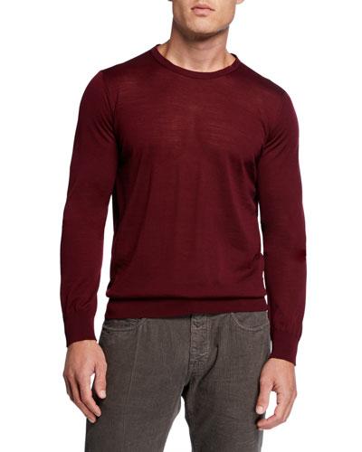 Men's Plain Knit Crewneck Sweater
