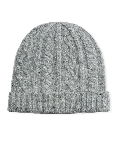 Men's Cabled Wool-Cashmere Knit Beanie