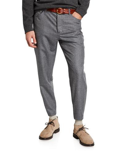 Men's Traditional Chalk-Stripe Flannel Pants