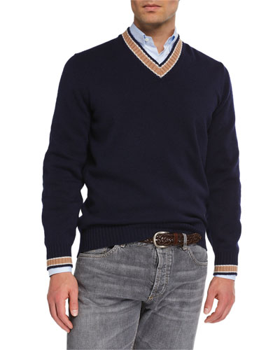 Men's Cashmere Varsity Sweater