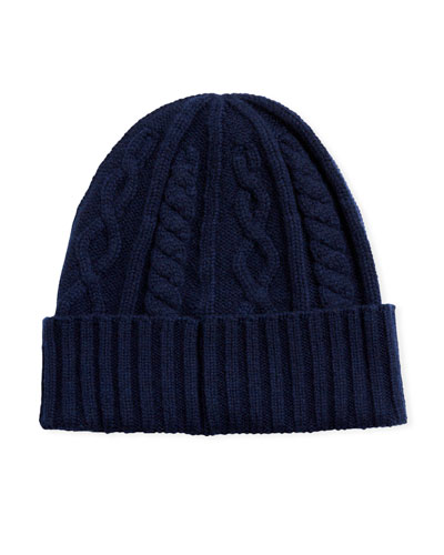 Men's Cabled Cashmere Knit Beanie Hat