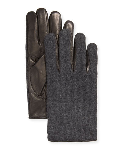 Men's Leather-Palm Cashmere Gloves