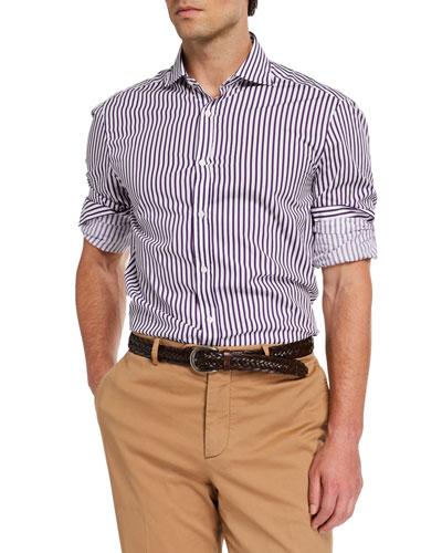 Men's Basic-Fit Bengal Striped Sport Shirt