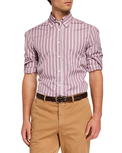 Men's Basic-Fit Striped Sport Shirt  Dusty Pink