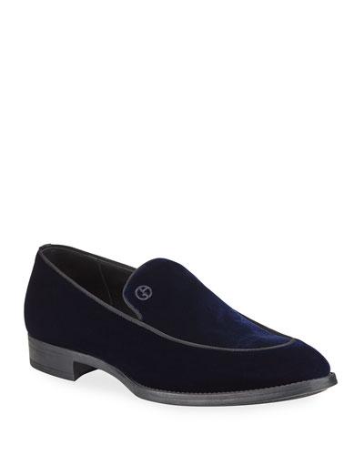 Men's Velvet Formal Loafers  Navy