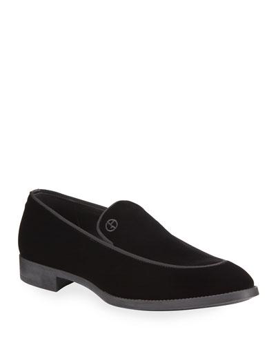 Men's Velvet Formal Loafers  Black