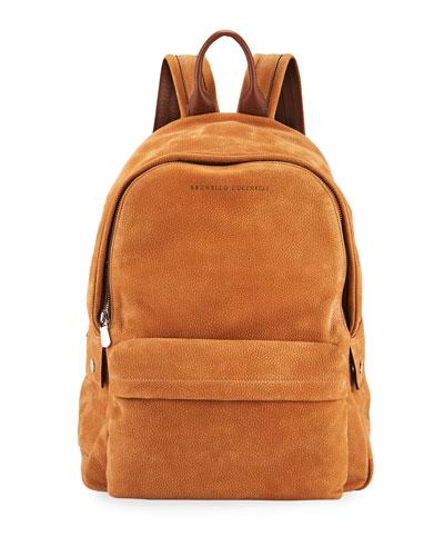 Men's Pebbled Leather Backpack