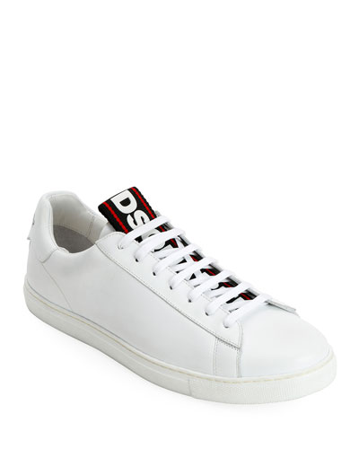 Men's Leather Logo-Web Trainer Sneakers