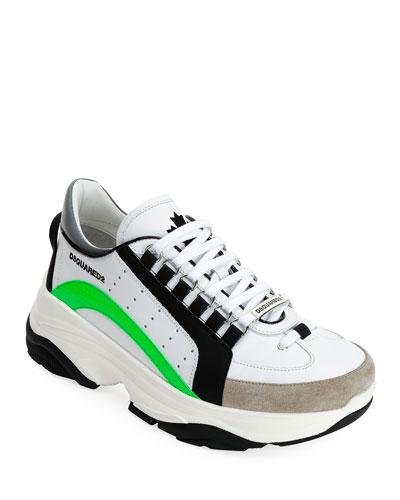 Men's Colorblock Chunky Runner Sneakers  White Pattern