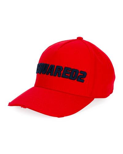 Men's Logo-Embroidered Baseball Cap  Red/Blue