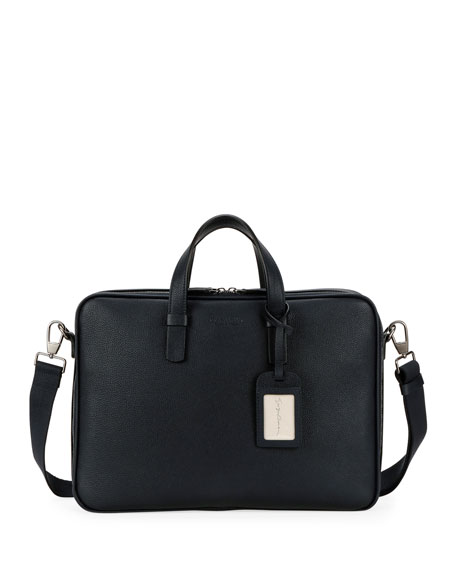 Men's Leather Briefcase Bag with ID Tag