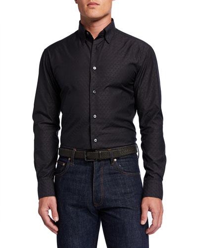 Men's Logo-Jacquard Sport Shirt