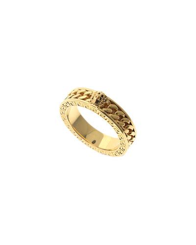 Men's Medusa Chain/Greek Key Band Ring