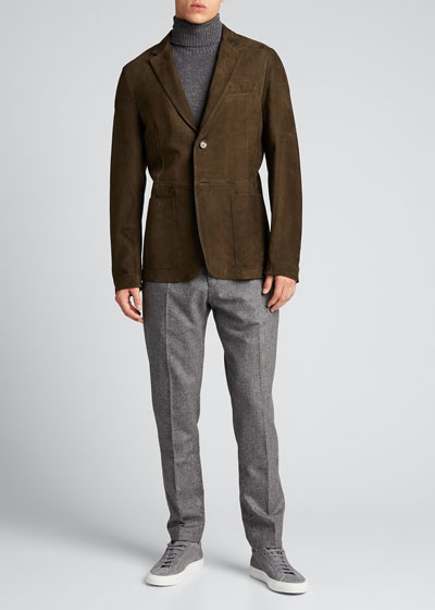 Men's Wool Flannel Flat-Front Trousers