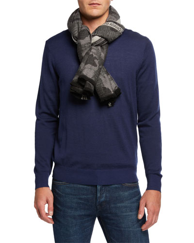 Men's Woven Camouflage Wool Selvedge Scarf