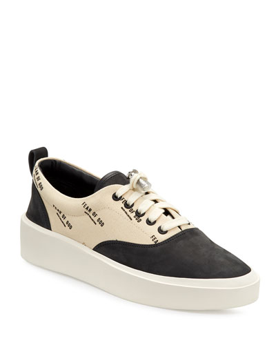 Men's Logo Canvas/Suede Low-Top Sneakers