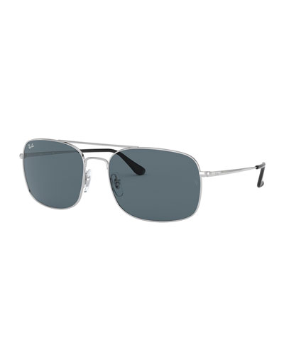 Men's Rectangle Slim Steel Sunglasses