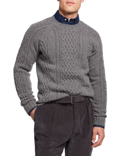Men's Aran Cable-Knit Wool Sweater
