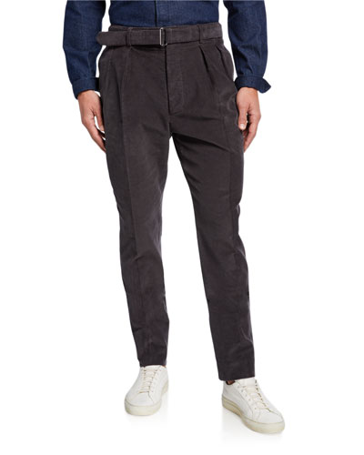 Men's Pigment-Dyed Pleated-Front Corduroy Pants