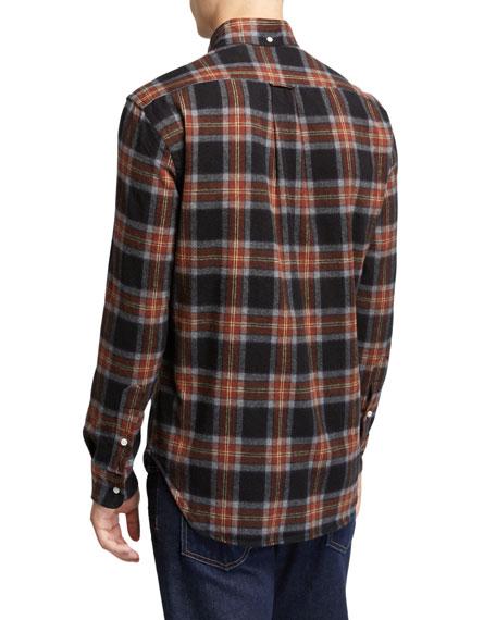 Men's Shaggy Brushed Plaid Oxford Sport Shirt