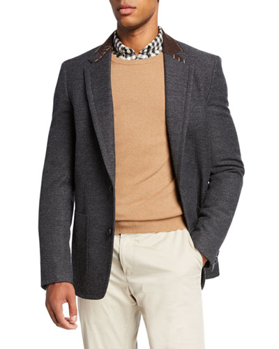 Men's Wool-Blend Sport Jacket w/ Stitched Contrast Collar