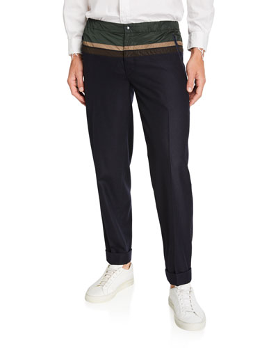 Men's Wool Cuffed Trousers w/ Contrast Nylon Top