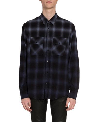 Men's Ombre Plaid Sport Shirt