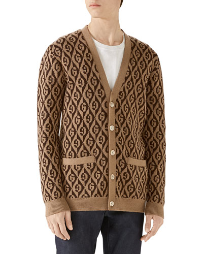 Men's Rhombus Intarsia-Knit Cardigan Sweater