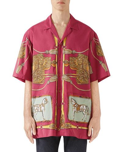 Men's Oversized Baroque Tassel-Print Shirt