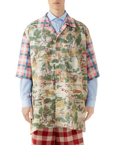 Men's Feline-Print Short-Sleeve Oversized Sport Shirt