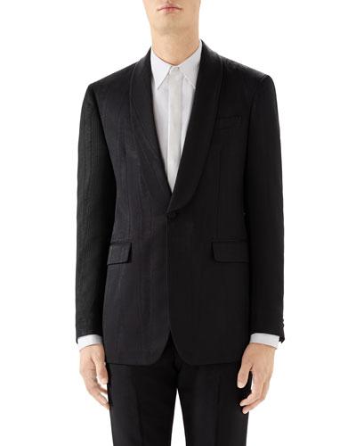 Men's Moire Shawl-Collar Tuxedo Jacket