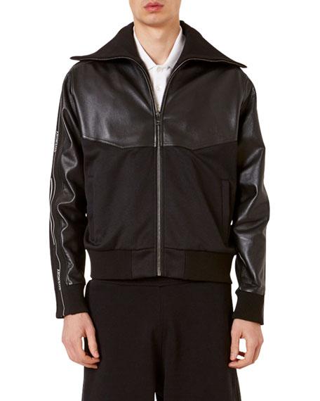 Men's Leather & Nylon Paneled Track Jacket