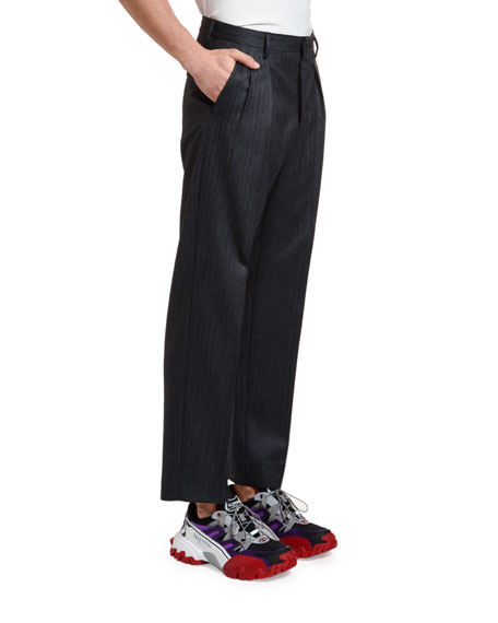 Men's Cropped Pleated Wool Trousers