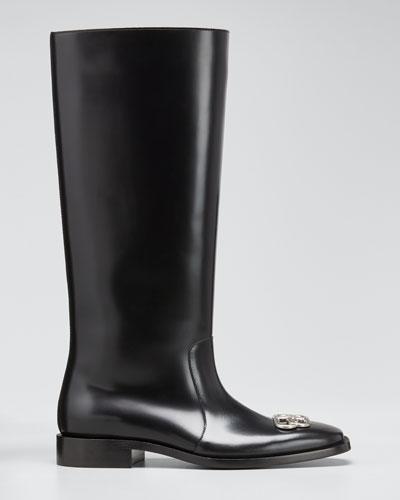 Men's Rim BB-Logo Leather Rain Boots