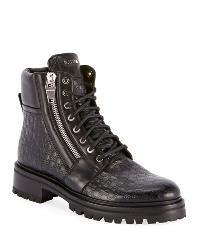Men's Monogrammed Leather Combat Boots
