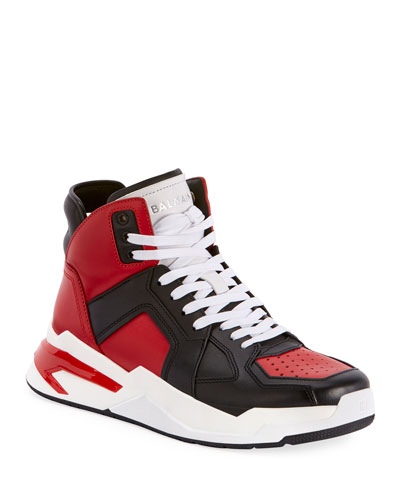 Men's B Ball Colorblock Leather High-Top Sneakers