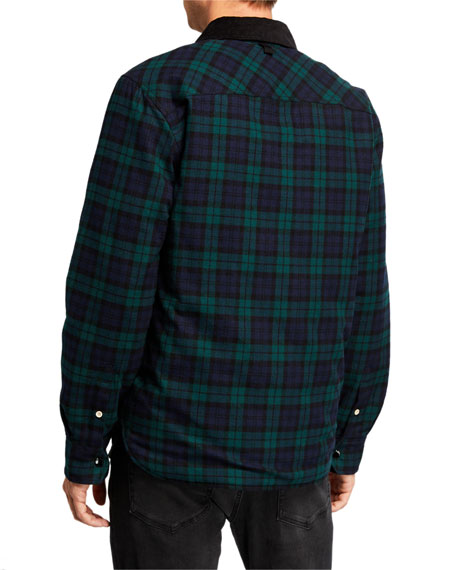 Men's Plaid Padded Snap-Front Jacket