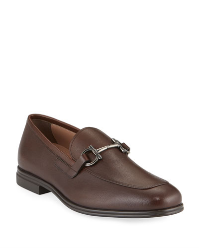Men's Textured Calfskin Gancini Loafer  Brown