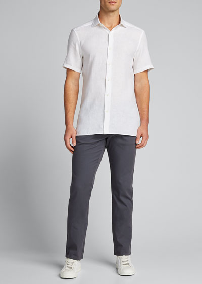 Men's Solid Linen Short-Sleeve Sport Shirt