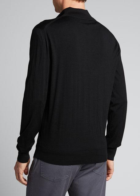 Men's Solid Wool Zip-Front Sweater