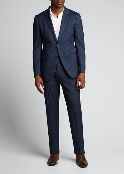 Men's Solid Textured Two-Piece Suit