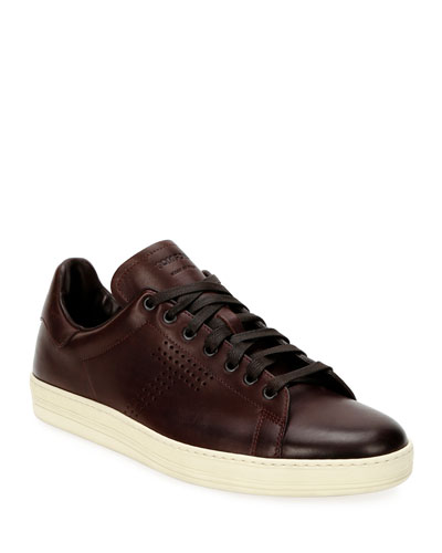 Men's Smooth Leather Cup-Sole Sneakers
