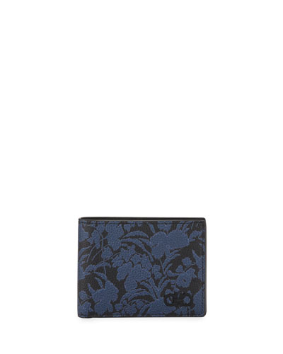 Men's Floral-Print Leather Wallet