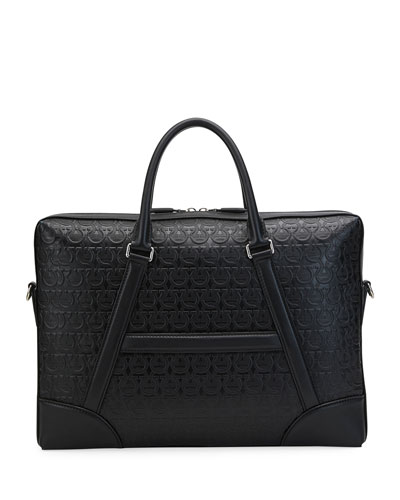 Men's Gancini-Embossed Leather Briefcase