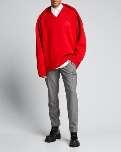 Men's V-Neck Pinched-Shoulder Oversized Sweater