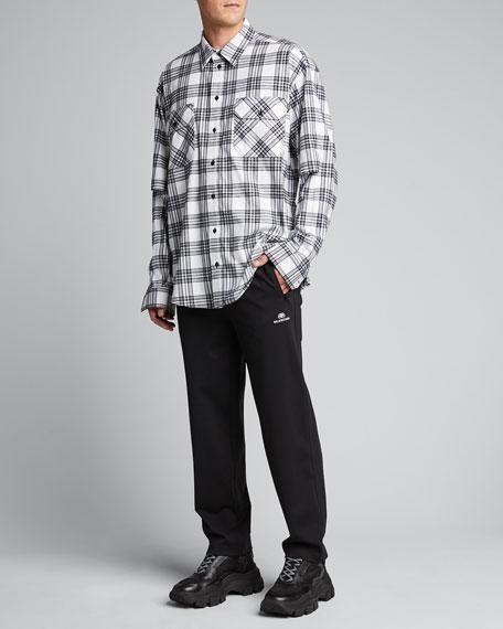 Men's Flannel Check Split-Sleeve Sport Shirt