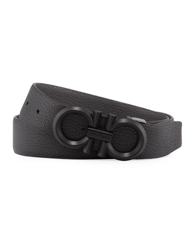 Salvatore Ferragamo Belt Men's Reversible Textured Leather Belt with Beveled Gancini Buckle