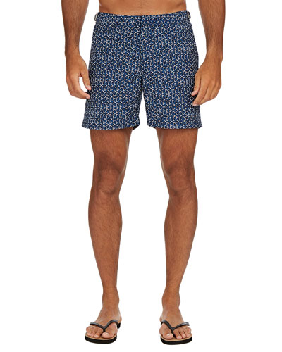 Men's Bulldog Garda-Print Swim Trunks