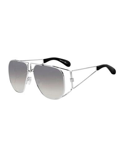 Men's 4G Open Geometric Stainless Steel Sunglasses