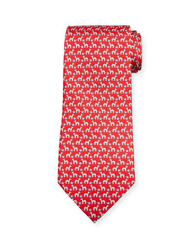 Zebra/Flower Silk Tie  Red